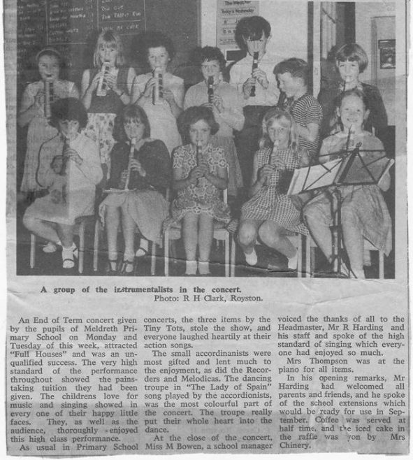 End of Term Concert, July 1966<br> Standing, from left to right: Margaret Pigg, Hazel Jacklin, Helen Howell, Barbara Handscombe, Keith Saunders, Anthony Purves, Margaret Easter<br> Seated, from left to right: Jane Harris, Jacqueline Hall, Elaine Handscombe, Irene Smith, Portia Askew