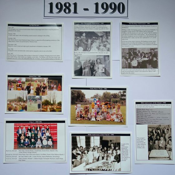 Display on the history of the school: 1981-1990