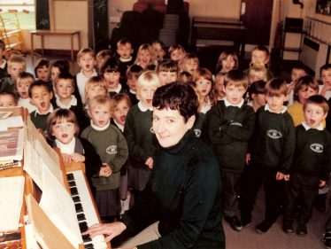 Mrs Brown, during the sponsored piano play | Photograph courtesy of Meldreth Primary School