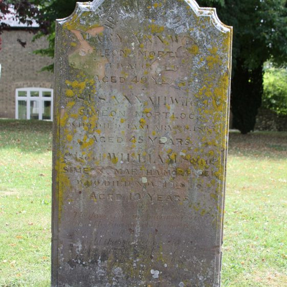 20: In Memory of / MARY ANN wife of /SIMEON MORTLOCK/ who died August 6th 1860/ Aged 49 years/SUSANNAH, wife of/SIMEON MORTLOCK/ who died January 20 1865/ Aged 45 years./ Also WILLIAM, son of/ SIMEON and MARTHA M0RTLOCK/ who died Nov. 1st 1848/ Aged 19 years./ The days of man's pilgrimage/here. How fleeting uncertain/ and few./ Say reader dost thou hold / too dear/ A world that thus claims/thy adieu?/ A home art thou seeking on high/ Thro' Jesus the, truth/ and way?/For thou too in dust must soon lie/ And worms eat the dwelling of clay./ | Photograph by Malcolm Woods