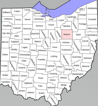 Map of Ohio, showing location of Wayne County | Public domain, Wikimedia Commons