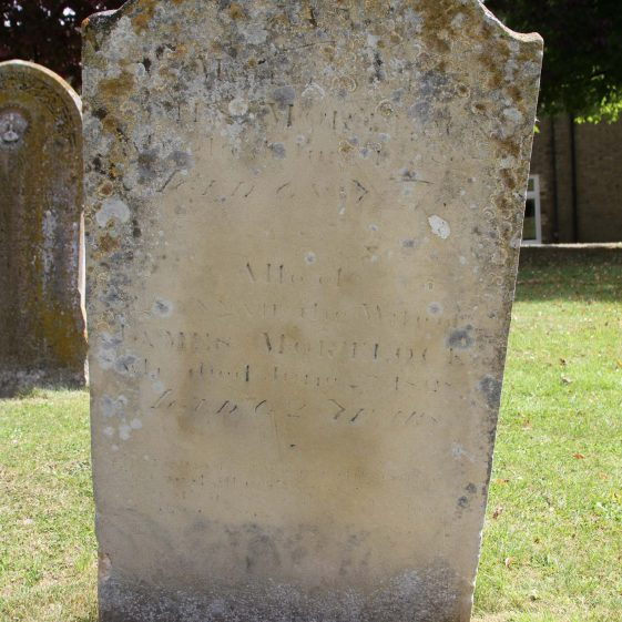 21: In/ Memory of / JAMES MORTLOCK/ who died June 16 1827/ Aged 68 years/Also of/ SUSANNAH the wife of/JAMES MORTLOCK/who died June 27 1828/ aged 62 years/ The rising morning ( ) ( ) / That we shall end the day/ (For) death shall ... | Photograph by Malcolm Woods