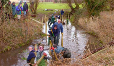 River Mel Restoration Group at its first session in Melbourn