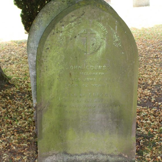 31: In Loving Memory / of/ JOHN COURSE/ of Meldreth/ who died June 2nd 1869/ aged 42 years/ Also of ELIZA/ wife of the above/ who died July 11th 1899/ aged 73 years./ May each like these depart in Peace./ | Photograph by Malcolm Woods