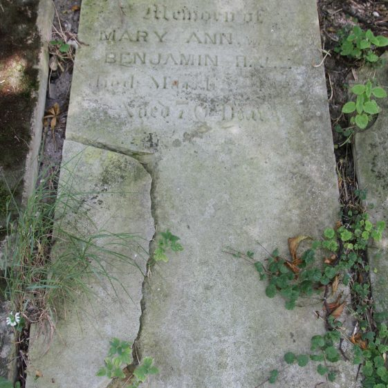 32a: In/memory of/MARY ANN wife of/BENJAMIN HALE/died March .. 18../ .. 70 .. | Photograph by Malcolm Woods