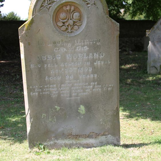 48: In Loving Memory/of/ ABBIS WORLAND/who fell asleep in Jesus/ Nov 26 1893/ aged 58 years./