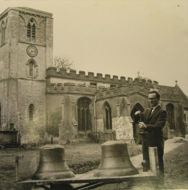 John Gipson preparing to hang the two new bells in 1968