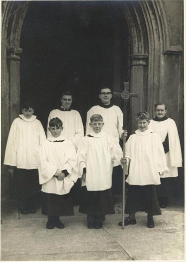 Jack Farnham, third from left on the back row,  with some choristers outside Holy Trinity Church in the late 50's | Photo supplied by Roger Winter