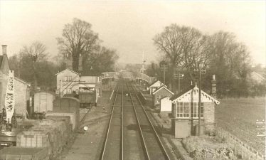 Meldreth Station and Goods Yard showing the allotments at the side of the track, 1946-1950 | Photograph supplied by Mary Findlay