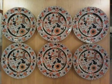 6 Ironstone China Ashworth Mason's plates with John Mortlock mark on the plate bottom. | photo from eBay - Buy-It now price of £150
