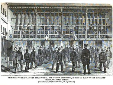 Prisoners at the Tread-Wheel and Others Exercising in the 3rd Yard of the Vagrants' Prison, Coldbath Fields, Middlesex | From 'The Criminal Prisons of London and Scenes of Prison Life' by Henry Mayhew and John Binny, 1864
