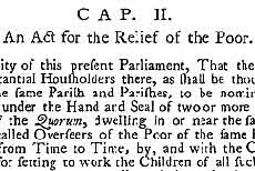 Title page extract, 1601 Act for Relief of the Poor | www.bbc.co.uk