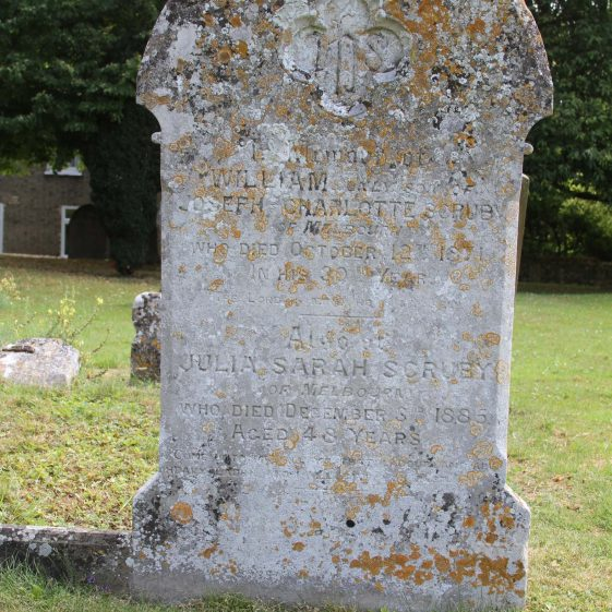8: In memory of/ WILLIAM only son of/ JOSEPH and CHARLOTTE SCRUBY/(of Melbourn)/ Who died October 12th 1871/ In his 30th Year/ The Lord is mine. He is my help./Also of /JULIA SARAH SCRUBY/(of Melbourn)/ who died December 3rd 1885 aged 48 years/ Come unto me all ye that labour/ and are heavy laden and I/ will give you rest. Matthew XI 28. | Photograph by Malcolm Woods