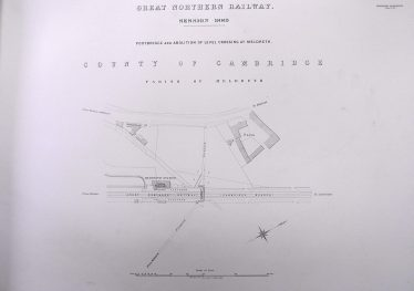 Plans for the abolition of the 'level crossing' and the construction of a footbridge at Meldreth and Melbourn Station dated 1889 | Cambridge Record Office
