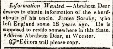 Personal advertisement, <em>The (Ravenna, Ohio) Portage Sentinel</em>, 29 Dec 1851 |