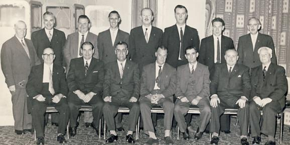 Atlas 25 Year Service Award in the Hilton Hotel, London, early 1960s<br> Front row, third from left: Stanley Jack Thurley