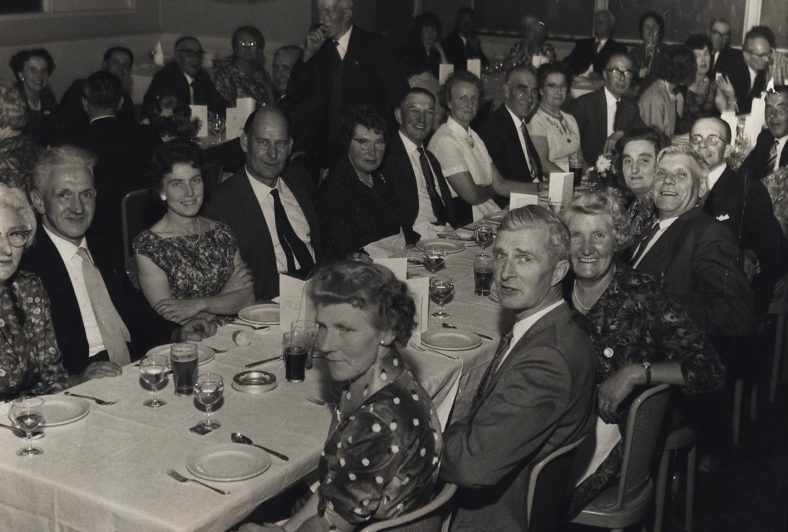 Atlas 25 Year Service Dinner (Date and Venue unknown)<br> Second Row, L to R: Mrs King, Mr King, Mrs Catley, Mr Catley, Mrs Cooper, Harold Cooper, _____, ______, ______<br> First Row, L to R Edie Pullen, Harry Pullen, _____, ______, Jessie Newman, Alick Newman, _______