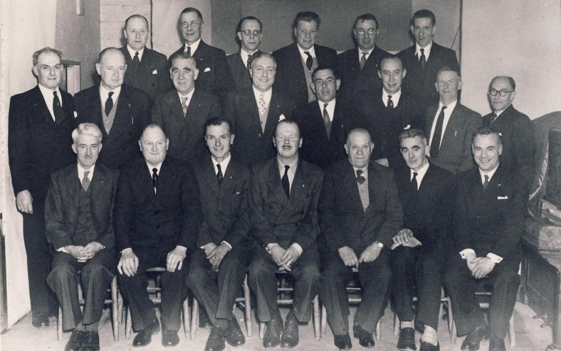 Atlas Long Service Award, March 28th 1958<br> Ted Day is the third from left on the second row.  He used to drive the infamous 'Puffing Billy'