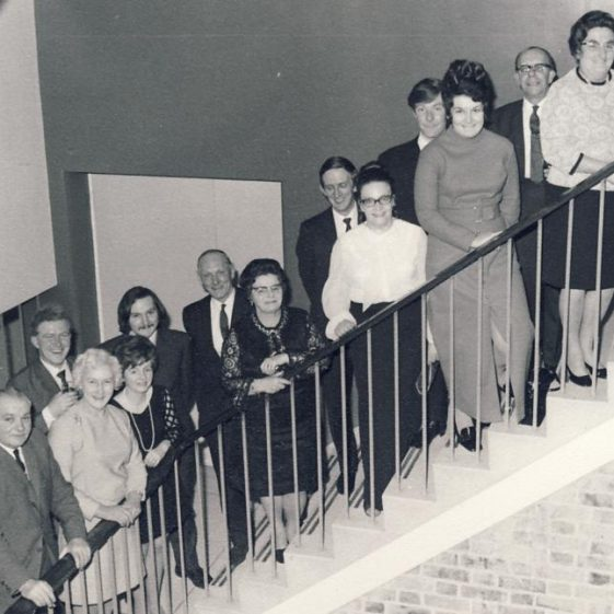 Atlas Social Club Dinner Dance at Bassingbourn Village College 1971<br> L to R: Jack Woods, May Woods, Vincent Hurley*, Ann Hurley*, Alan Woods, Fred Dance, Florrie Dance, Mike Keith, Christine Keith, Brian Newman, Melanie Newman, Alick Newman*, Jessie Newman. | Christine Keith