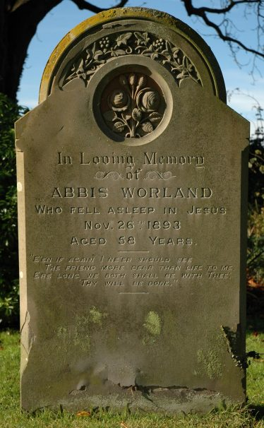 The grave of Abbis Worland, Holy Trinity Church, Meldreth | Photograph by Kathryn Betts