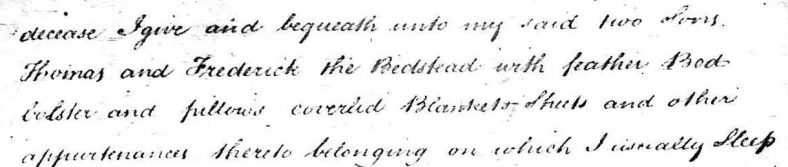 An extract from Abbis' will in which he left to his two sons, Thomas and Frederick,