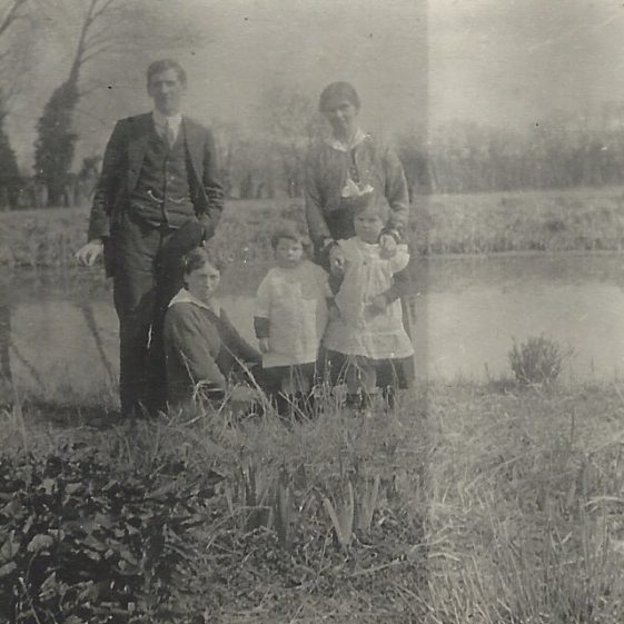 Edwin and Annie Adcock, with their children Gwendolen and Eric, c. 1916. Possibly taken at Topcliffe Mill. | Photograph supplied by Jane Moore (née) Findlay