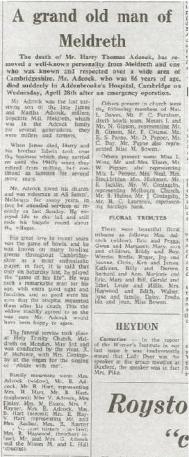 The report of Harry Adcock's funeral | Royston Crow, May 1965