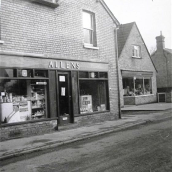 Allens Store, High Street, Meldreth with the Bee-Ive shop next door.  c. 1965 | Photo supplied by Meldreth W.I.