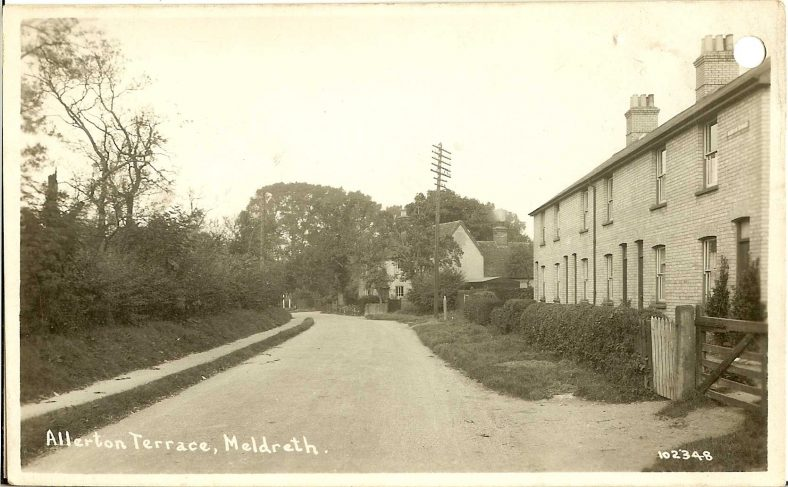 102348 Allerton Terrace, Meldreth<br> Photograph dates from after 1910/11, when these houses were built. Two versions of this card exist, numbered 102348 and 105348 (which was presumably an error). | Bell's postcard supplied by Ann Handscombe