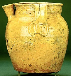 This is a piece of Stamford ware from the Ashmolean museum.  It shows how the spout pictured above may have been fixed to the pot.<br> It is interesting to note that the above piece was originally presented to the British Museum by A W Franks, the man who also presented the Meldreth Hoard to The British Museum.   Ashmolean Museum