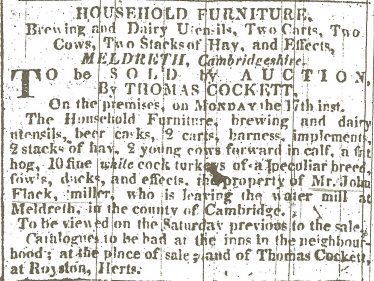The advertisement detailing the sale of John Flack's goods when he left Topcliffe Mill