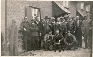 Eustace Waldock, second from right, middle row, with other 'regulars' outside the British Queen in the 1940s | Photograph supplied by Sylvia Gipson