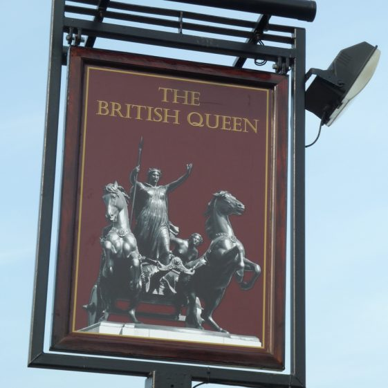 The New Pub Sign at The British Queen (March 2012)   Tim Gane