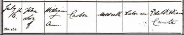 The baptism record of John Casbon, Meldreth 1843 | Supplied by Jon Casbon