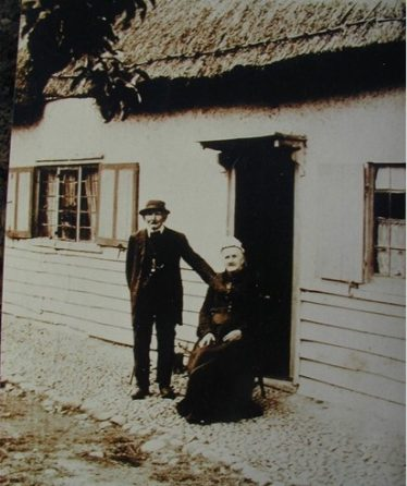 The last landlord of the Bell Inn, Samuel Woods, with his wife, Rebecca, pictured outside the Meldreth pub in 1900. | Photo supplied by Avril MacArthur