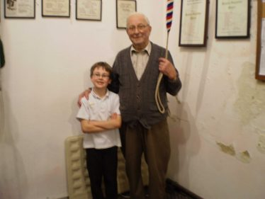 The youngest and oldest bell ringers at Holy Trinity in 2011: John Hinton (aged 8) and John Gipson (aged 87) | Photograph by Andrew Downs
