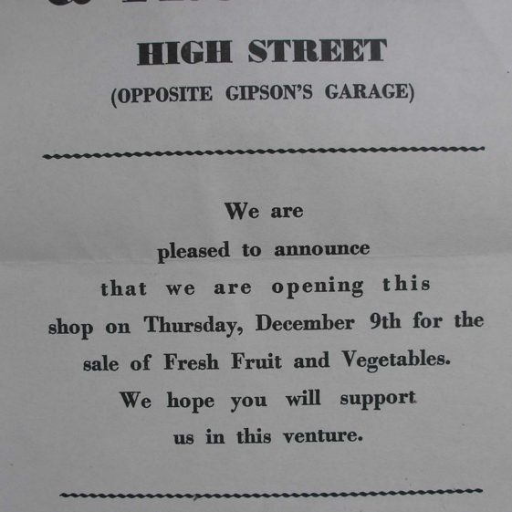 A notice advertising the opening of Bicheno's shop in 1965 | Meldreth WI