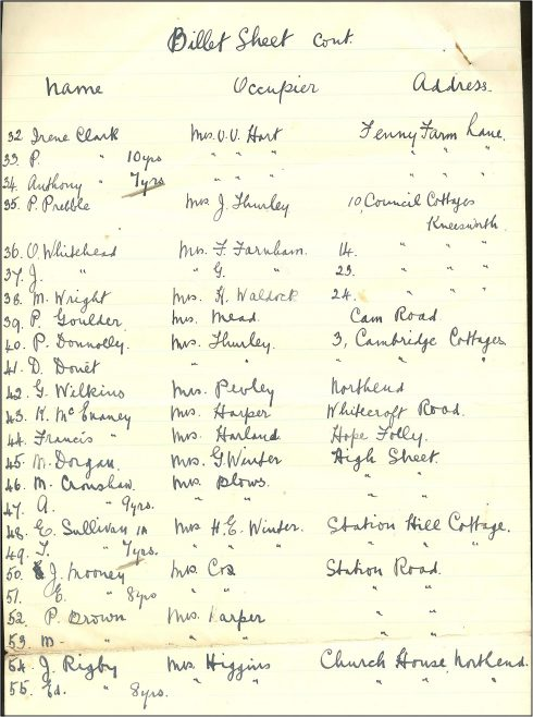A billet sheet from the school's admissions register | Photograph courtesy of Meldreth Primary School