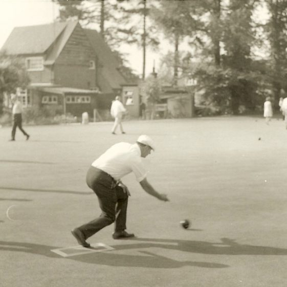 Meldreth Bowls Club in the 1970s, with Five Trees in the distance | Photograph supplied by Dennis Pepper
