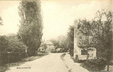 Whitecroft Road with Bramble Cottage on the right and the junction with Chiswick End, rear left - the two girls would have travelled along here on their way home with the stolen coal   Photograph supplied by Tim Gane