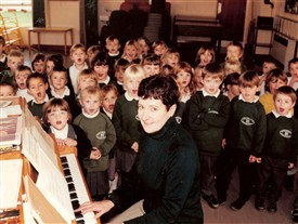 Mrs Brown during the sponsored piano play in November 1977. | Photo supplied by Meldreth Primary School