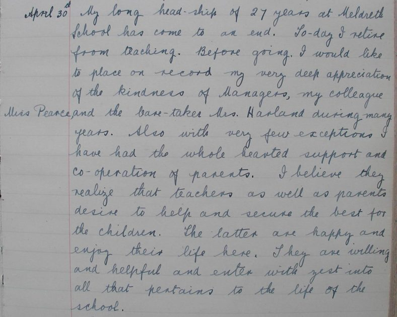 In April 1945, Miss Butler retired after 27 years as the headteacher of the school. She wrote this entry in the school log book on 30th April 1945.<br> My long headship of 27 years at Meldreth School has come to an end. Today I retire from teaching. Before going, I would like to place on record my very deep appreciation of the kindness of managers, my colleague Miss Pearce and the caretaker Mrs Harland during many years. Also with very few exceptions I have had the wholehearted support and cooperation of parents. I believe they realise that teachers as well as parents desire to help and secure the best for the children. The latter are happy and enjoy their life here. They are willing and helpful and enter with zest into all that pertains to the life of the school. | Photograph courtesy of Meldreth Primary School