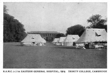 Hospital Tents on the Backs, Cambridge, The Wren Library, Trinity College in the background | www.roll-of-honour.com/CambridgeEasternNo1Hospital.html