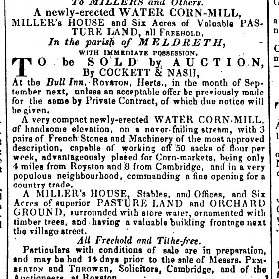 Sale advertisement, August 1844 | Cambridge Chronicle