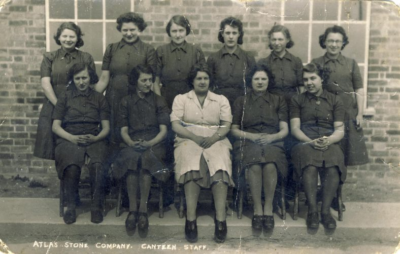 Atlas Canteen Staff<br> Back row, far right: Pansy King.<br> Front row, far right: Marina Thomas<br> Can you help us with any of the other names and a date please? | Linda Clarke