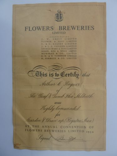 Highly Commended certificate awarded by Flowers Brewery to Jim Rayner in 1954 for the best garden and draw up in the Royston Area | Property of Joan Fallon, Jim Rayner's daughter