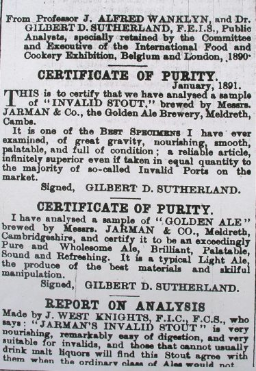Newspaper Advert confirming the Purity of Jarman's Beer | Cambridge Chronicle Mar 13 1891