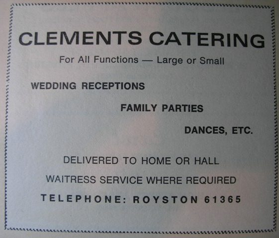 Advert for Clements Catering (no longer trading) | Meldreth W.I.
