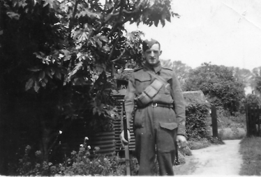 Corporal Leslie Pepper in Home Guard uniform, pictured in the garden of his Allerton Terrace home | Photo supplied by Brian Pepper