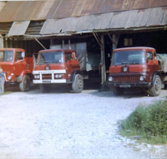 Richard Carter with his father's lorries at Maltings Farm (known as The Mill), High Street, Meldreth.  1968 | Photo supplied by Ann Carter